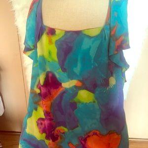 Colorful Flutter sleeve blouse